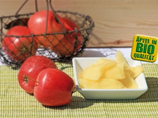 Äpfel, BIO, geschält, geschnitten, pasteurisiert